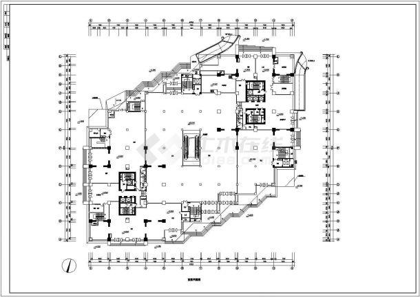 某六层带夹层框架结构大型商场设计cad建筑平面方案图(甲级院设计)-图二