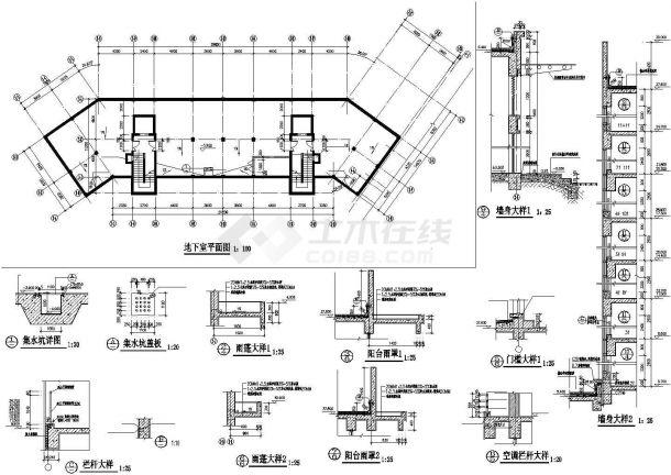武汉合景缘小区11层框架结构住宅楼建筑设计CAD图纸(含跃层和地下层)-图二