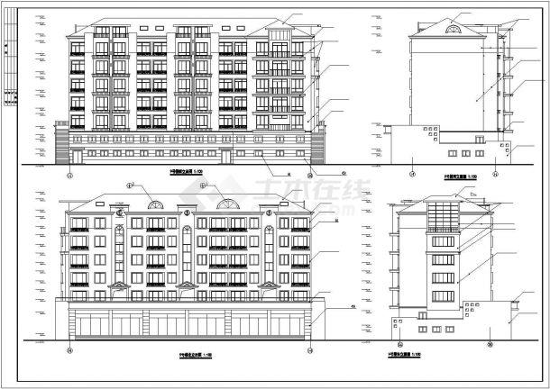 北京市绿苑翠庭小区6层砖混结构住宅楼建筑设计CAD图纸-图一