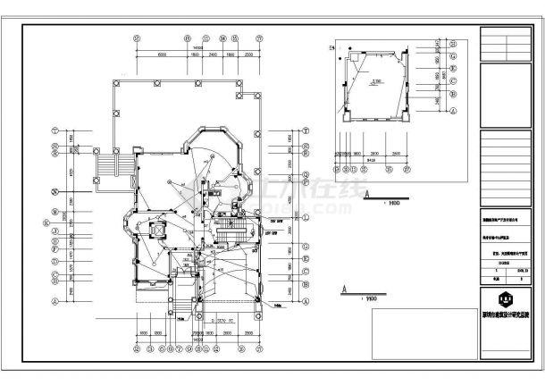 某别墅建筑结构水电设计CAD施工图纸-图二