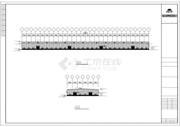 某轻型门式钢屋架结构建筑设计施工CAD图纸-图一