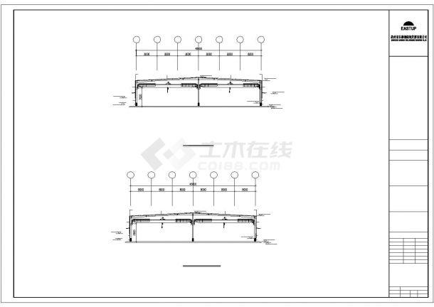 某轻型门式钢屋架结构建筑设计施工CAD图纸-图二
