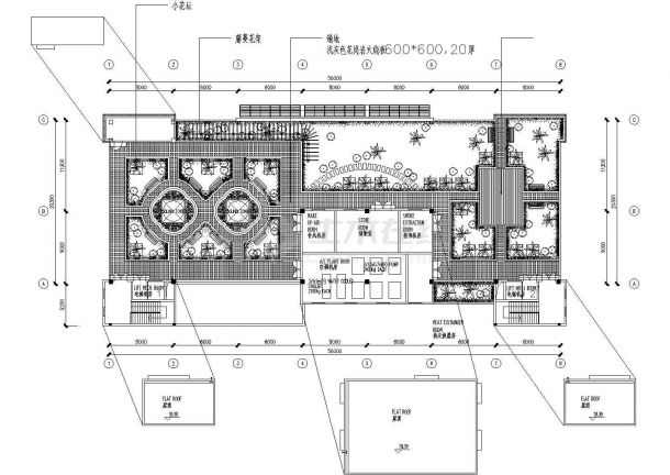 某办公楼建筑屋顶花园景观设计施工CAD图纸-图一