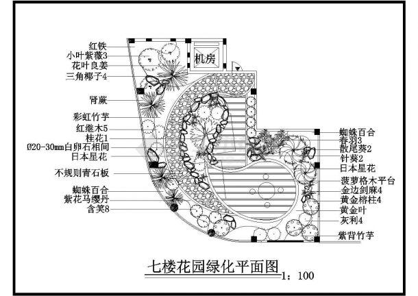 某酒店七楼屋顶小庭院景观设计施工CAD图纸-图二