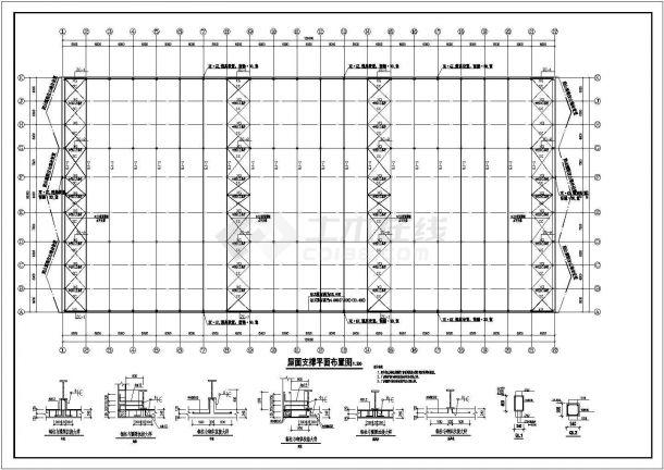 定西单层多跨门式钢结构轻型厂房设计全套施工cad图-图二