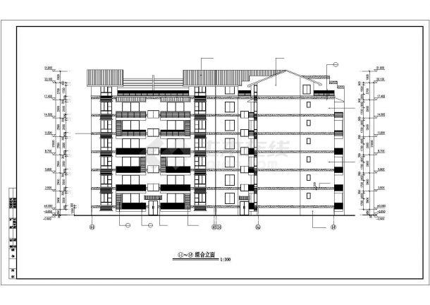 锦州市檀溪花园小区6层砖混结构住宅楼建筑结构设计CAD图纸(含跃层)-图二