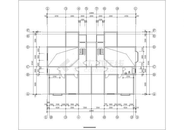 崇州市友谊花园小区6层砖混结构住宅楼局部平面设计CAD图纸-图一