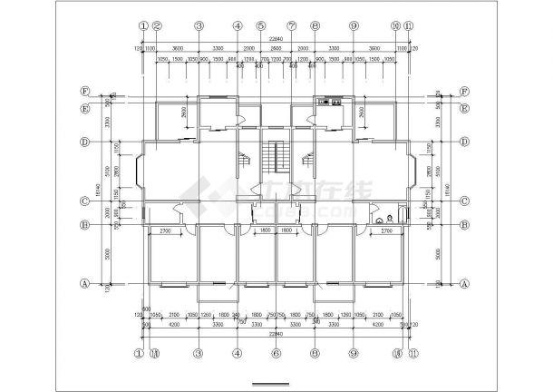 崇州市友谊花园小区6层砖混结构住宅楼局部平面设计CAD图纸-图二
