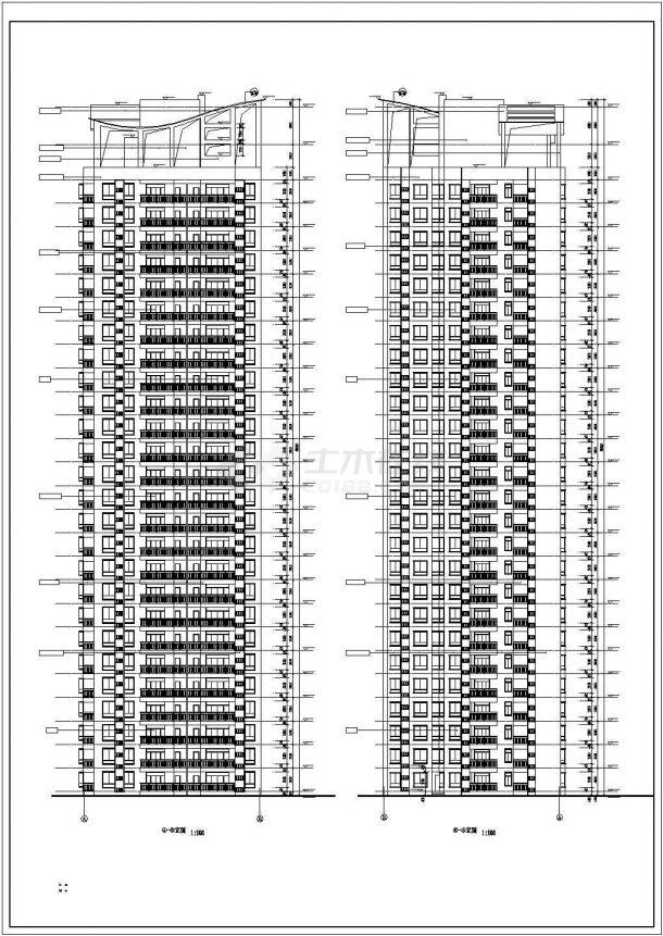 扬州市海馨嘉园小区1.6万平米25+1层框架结构住宅楼建筑设计CAD图纸-图二