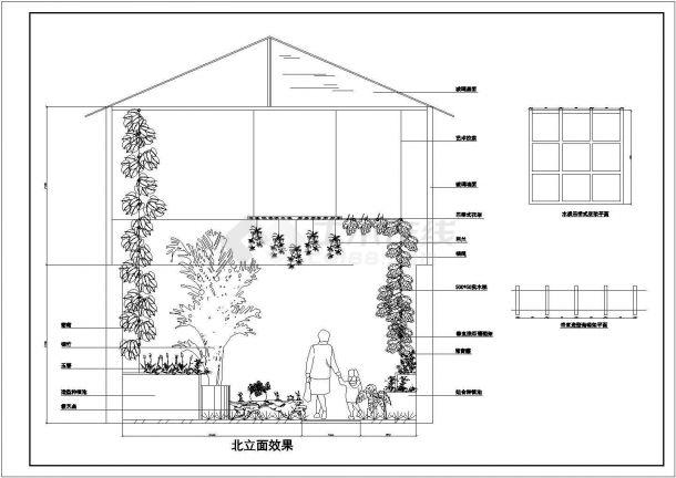 某屋顶花园绿化布置cad施工图纸-图二