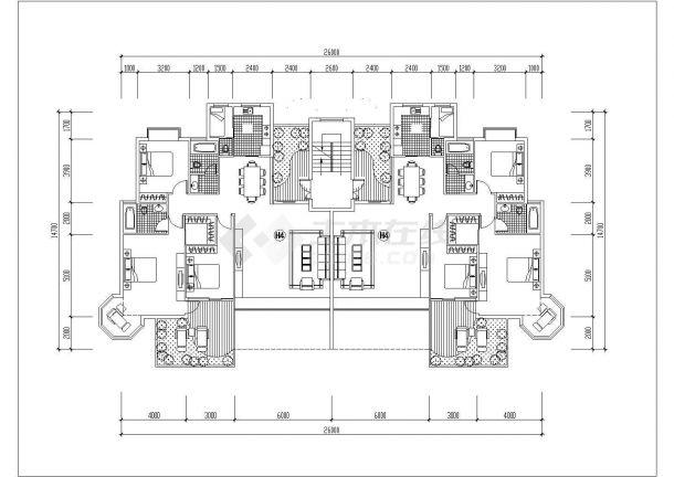 宁波市洲际花园小区6层砖混结构两户双拼式住宅楼平面设计CAD图纸-图一
