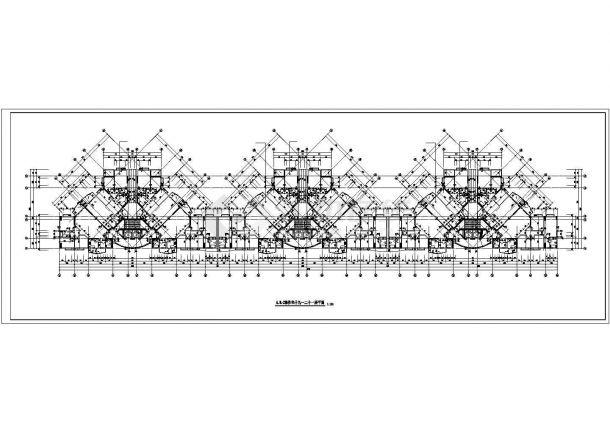无锡市阳山花苑小区22层三栋联立式住宅楼局部平面设计CAD图纸-图一