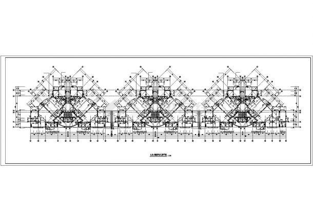 无锡市阳山花苑小区22层三栋联立式住宅楼局部平面设计CAD图纸-图二
