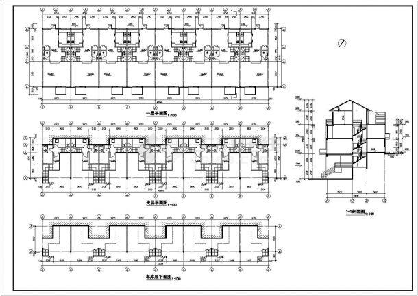 洛阳市嵩山花园小区3层砖混结构民居住宅楼建筑设计CAD图纸(含夹层)-图一
