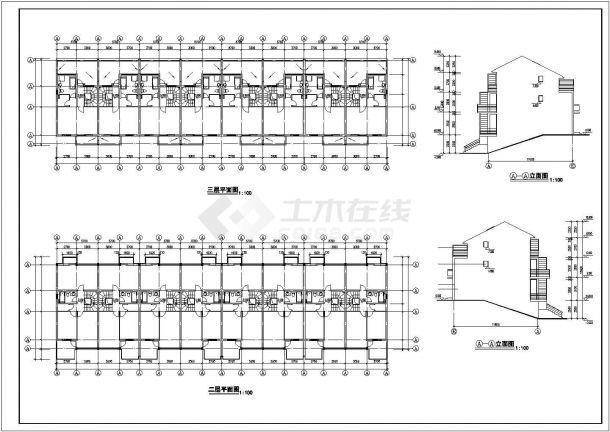 武汉市舜安花园小区3层砖混结构住宅楼全套建筑设计CAD图纸-图二