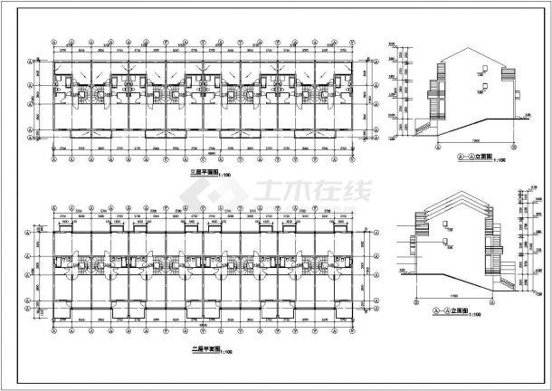 泉州市祥锦花园小区3层砖混结构住宅楼建筑设计CAD图纸-图二