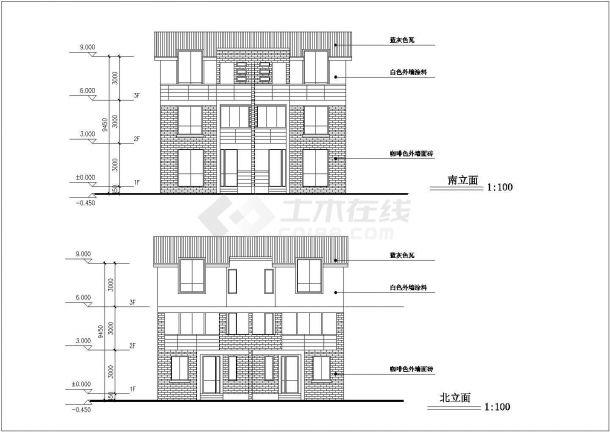 漳州市某小区3层砖混结构别墅楼建筑设计CAD图纸(1栋2户/每户195平)-图一