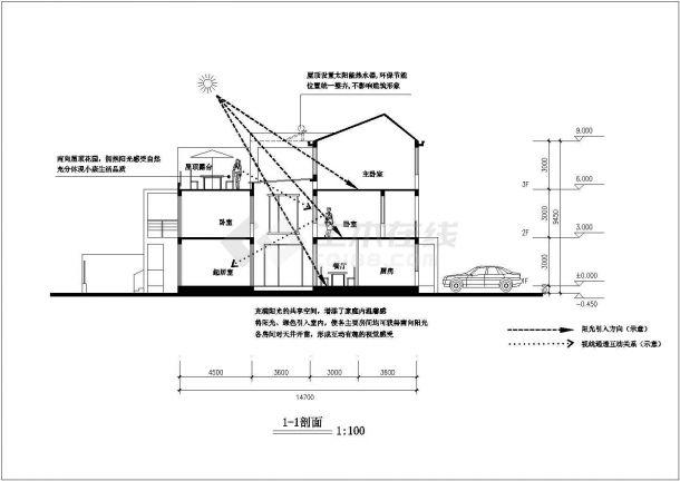 漳州市某小区3层砖混结构别墅楼建筑设计CAD图纸(1栋2户/每户195平)-图二