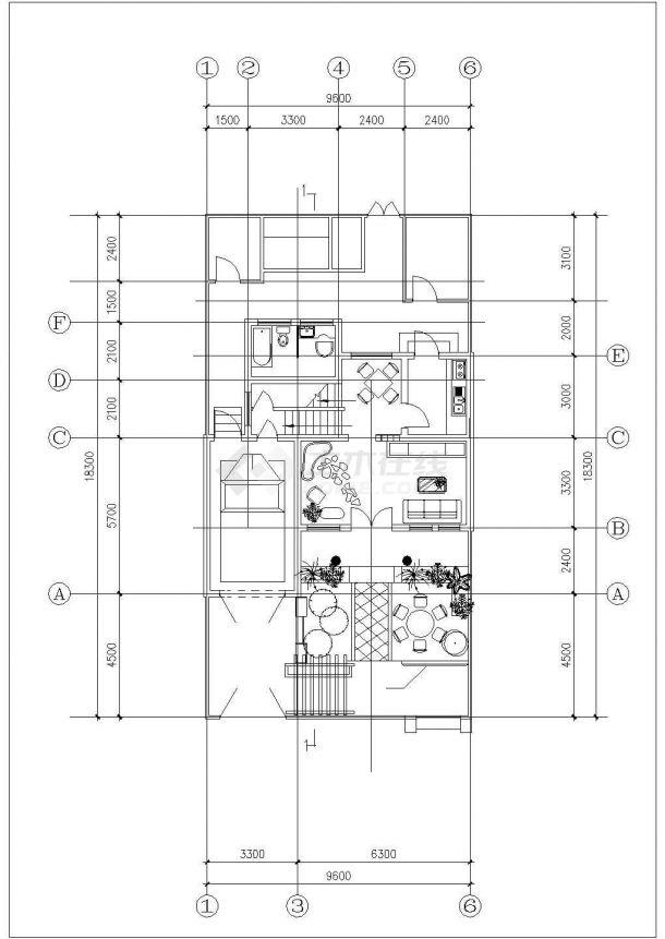 乐山市某小区2层混合结构双拼式别墅楼建筑设计CAD图纸(每户143平米)-图一