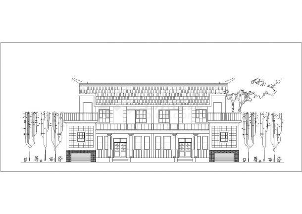 乐山市某小区2层混合结构双拼式别墅楼建筑设计CAD图纸(每户143平米)-图二