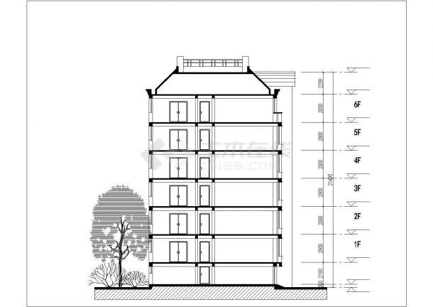 湘潭市芙阳花园小区6层砖混结构住宅楼平立面设计CAD图纸(每层780平)-图二