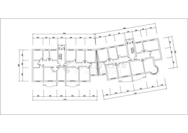 镇江瑞兴嘉苑小区6层砖混结构住宅楼平立面设计CAD图纸(每层460平)-图二