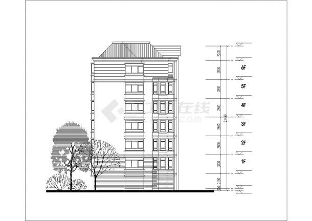 沭阳市春燕花园小区6层砖混结构住宅楼平立面设计CAD图纸(每层640平)-图二
