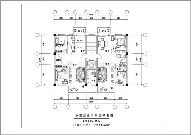 晋江市馨庄花园小区高层住宅楼经典热门平面户型设计CAD图纸(共9张)-图一