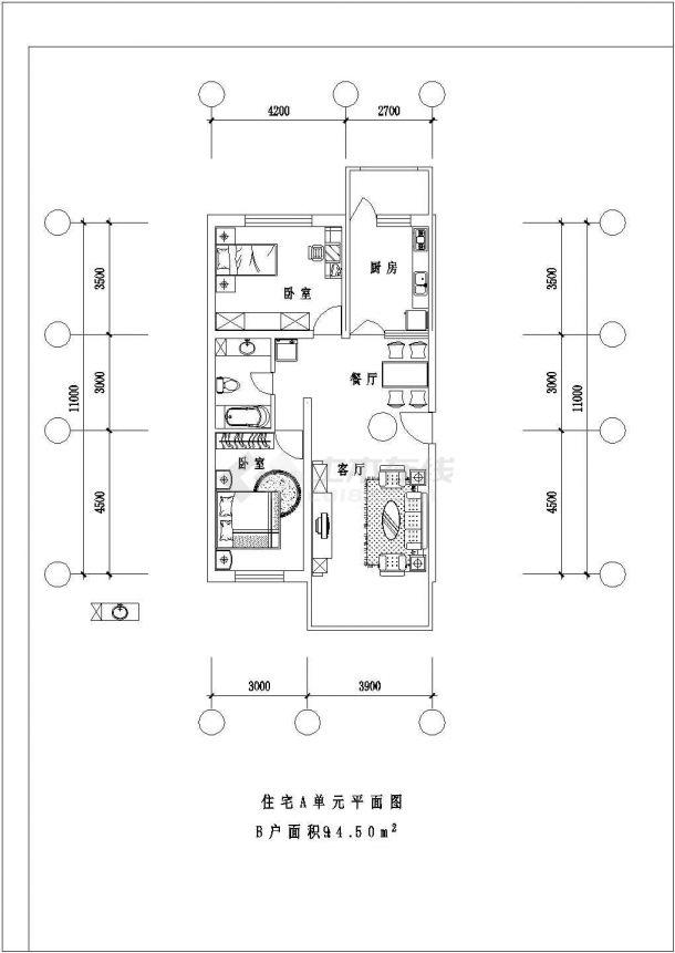 晋江市馨庄花园小区高层住宅楼经典热门平面户型设计CAD图纸(共9张)-图二