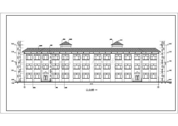 地坡屋面三层小学教学楼建筑方案设计图-图一