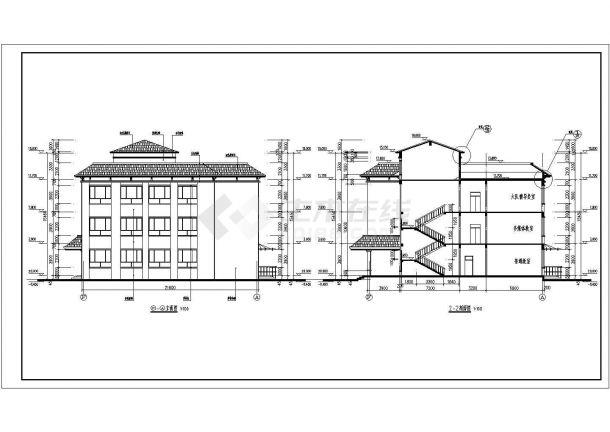 地坡屋面三层小学教学楼建筑方案设计图-图二