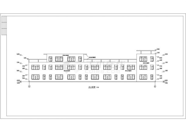 某三层框架结构城镇沿街楼设计cad建筑方案图(标注详细)-图一