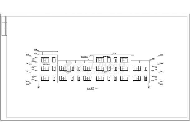 某三层框架结构城镇沿街楼设计cad建筑方案图(标注详细)-图二