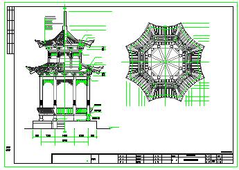 某重檐八角亭建筑cad设计施工图-图一