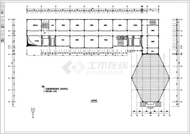 长沙市中学教学楼建筑方案设计图纸-图二