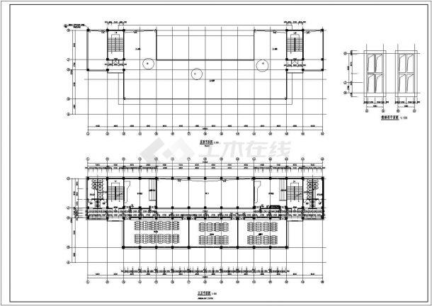 长沙中学五层综合教学楼建筑设计全套施工cad图-图一