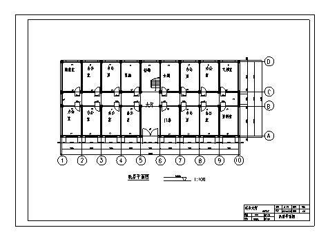 某市六层钢筋混凝土框架结构办公楼建筑施工cad图(含计算书,毕业设计,结构图)-图一