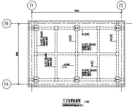 某钢结构门卫室结构施工cad图_门卫室施工-图二