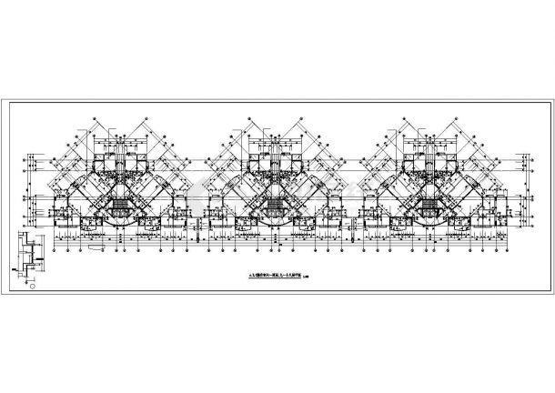 汉中市金鼎花园小区21层三栋联立式框架结构住宅楼平面设计CAD图纸-图二