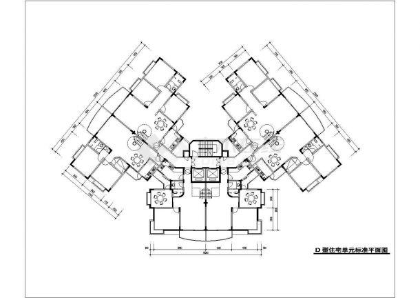 西安市石榴园小区多栋住宅楼的标准层平面设计CAD图纸(9张)-图一