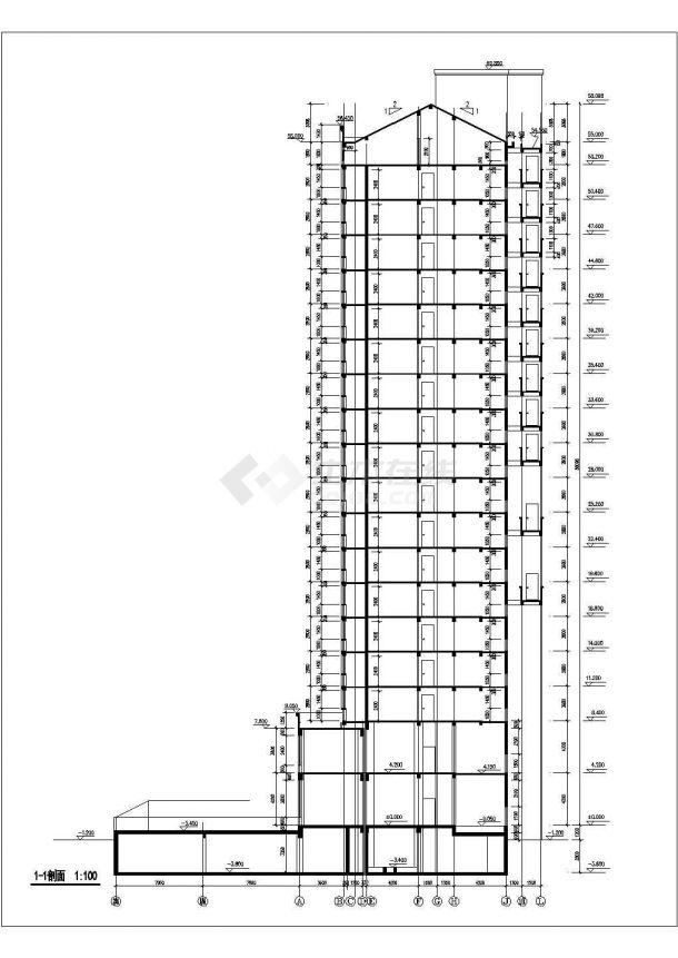 西安市城南名邸小区1.2万平米18层框架结构住宅楼建筑设计CAD图纸-图一