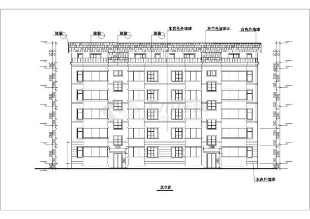 青岛市水宜家苑小区5层砖混结构住宅楼建筑设计CAD图纸(含阁楼)-图一
