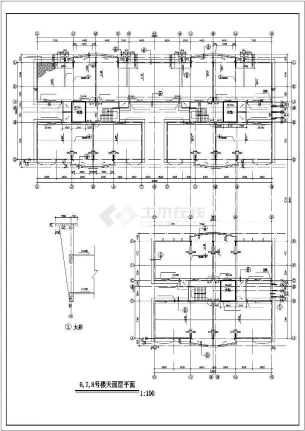 南京市美玲嘉园小区8层框架结构住宅楼全套平面设计CAD图纸-图一