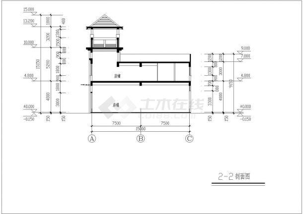 某二层框混结构商业步行街设计cad立剖面施工图-图一