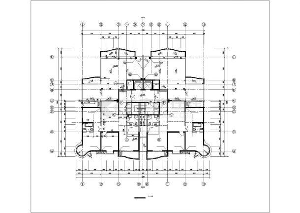 杭州市崤山西路某社区18层框架结构住宅楼建筑设计CAD图纸(含跃层)-图二