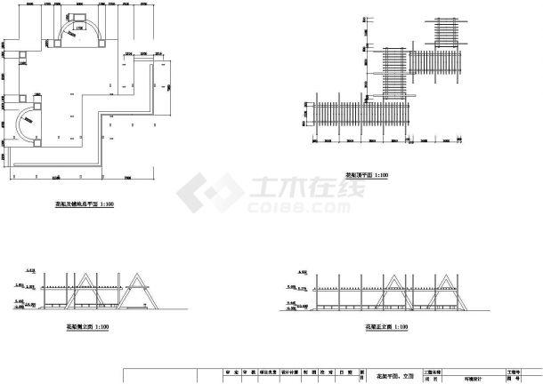 某艺术厅折线花架(方)CAD景观设计图纸-图一