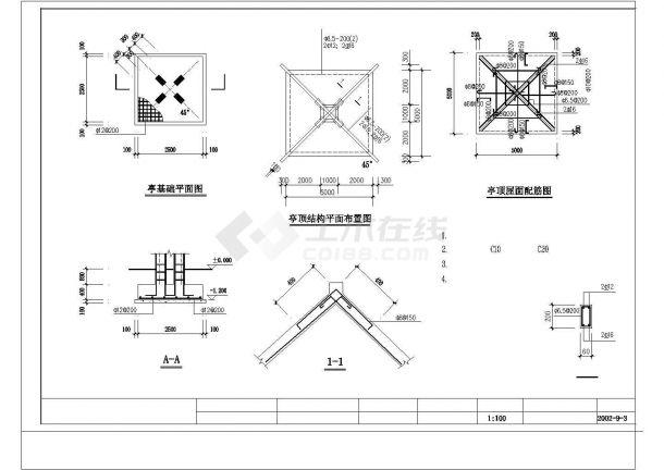 某高端小区整套CAD景观施工图花架廊详图-图一