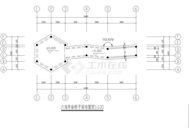 某街角六角亭及连亭曲桥CAD景观设计图纸-图一