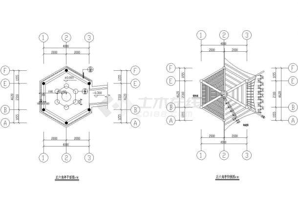 某街角六角亭及连亭曲桥CAD景观设计图纸-图二