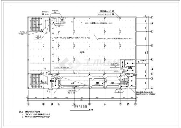 四层8250㎡工业厂房电气施工图-图一
